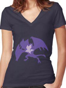 PKMN Silhouette - Noibat Family Women's Fitted V-Neck T-Shirt