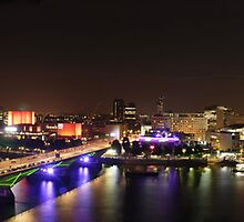 River Thames, London. Panoramic at Night by Michiel Meyboom