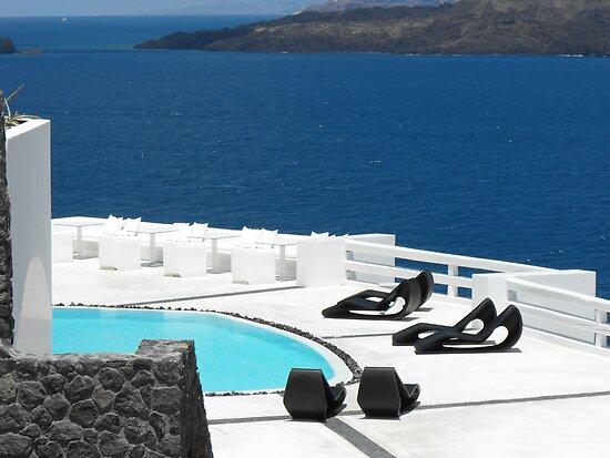 Santorini ocean: Greek Islands by the pool by SlavicaB