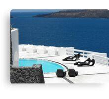 Santorini ocean: Greek Islands by the pool Canvas Print