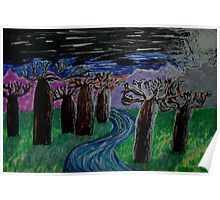 Baobab trees in moonlight Poster
