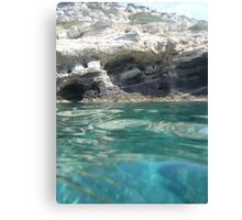Greek waters and caves Canvas Print