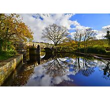 Dartmoor: Autmun Reflections at Hill Bridge Photographic Print