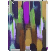 Purple Green Brown Lines Brush Strokes Abstract iPad Case/Skin