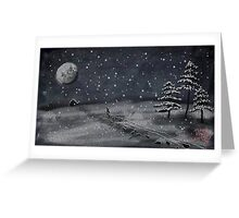 peaceful snowy night chalkboard scene Greeting Card