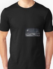 peaceful snowy night chalkboard scene T-Shirt