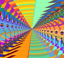 Abstract / Psychedelic Tunnel of Colorful Shapes by bradyarnold