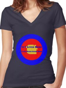 Location Location Location Women's Fitted V-Neck T-Shirt