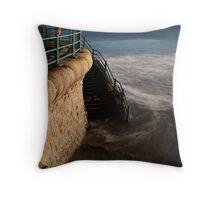 Roker - beach steps Throw Pillow