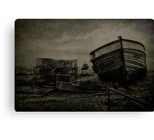 Boat Wreck And Pots Canvas Print