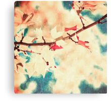 Pink leafs on textured sky Canvas Print