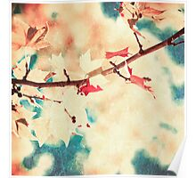 Pink leafs on textured sky Poster