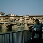 Fred with Ponte Vecchio behind him Florence Italy 198407080051m  by Fred Mitchell