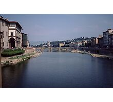Looking downstream on Arno from Ponte Vecchio Florence Italy 198407080052m Photographic Print
