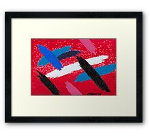 STRIPES COMPOSITION ON A RED BACKGROUND Framed Print