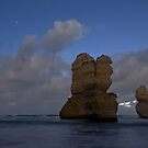 Two Apostles from Gibsons Beach in Moonlight by pablosvista2