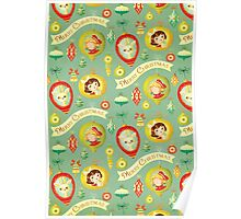 Merry Christmas Vintage Pattern Poster