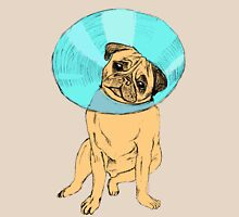 Pug with bucket head Womens Fitted T-Shirt