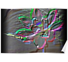Rainbow Ribbon Lotus Poster
