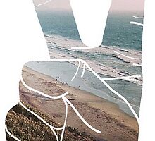 Peace Hand Beach Good Vibes Tumblr Vintage Love Instagram Print by Big Kidult