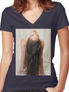 Hair model Women's Fitted V-Neck T-Shirt