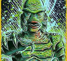 Creature from the black lagoon art print halloween monster movie horror sci fi halloween christmas lake universal monsters film black and white joe badon by Joe Badon