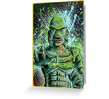 Creature from the black lagoon art print halloween monster movie horror sci fi halloween christmas lake universal monsters film black and white joe badon Greeting Card