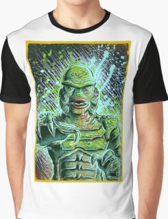 Creature from the black lagoon art print halloween monster movie horror sci fi halloween christmas lake universal monsters film black and white joe badon Graphic T-Shirt
