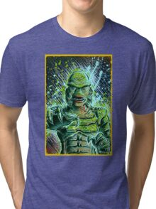 Creature from the black lagoon art print halloween monster movie horror sci fi halloween christmas lake universal monsters film black and white joe badon Tri-blend T-Shirt