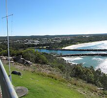 Breakwater from Razorback mountain, Evans Head, Nth/N.S.W. coast, Australia. by Rita Blom