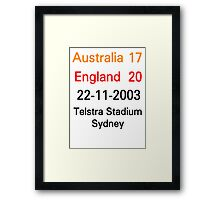 Australia 17-20 England - 2003 rugby world cup final Framed Print