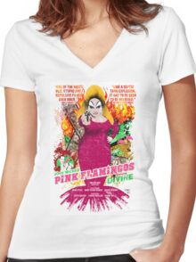 John Waters Pink Flamingos Divine Cult Movie  Women's Fitted V-Neck T-Shirt