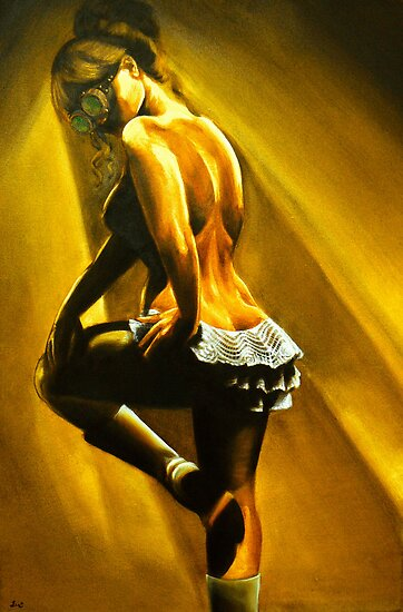 Chantilly - Steampunk Burlesque Painting by Jennie Rosenbaum