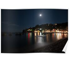 Loggos Paxos Greece by night with full moon Poster