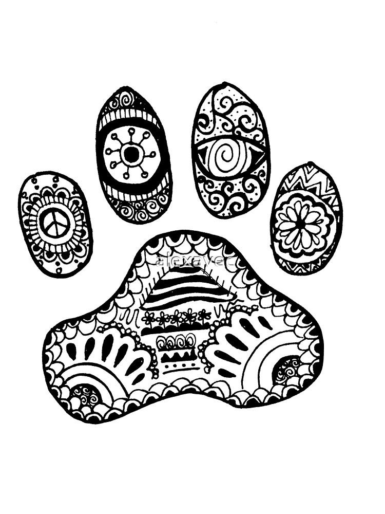 Paw Animal Zentangle By Alexavec