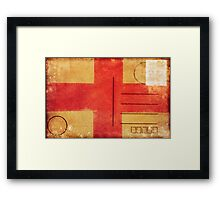 england flag on old postcard Framed Print