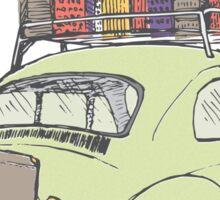 VW Beetle on a road trip Sticker