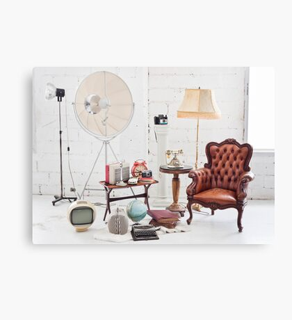 retro furniture and decoration in white room Canvas Print