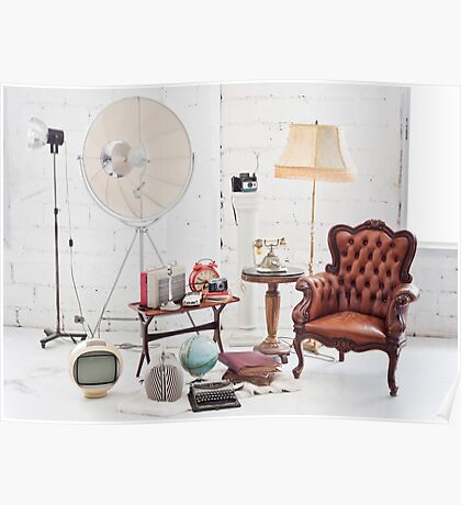 retro furniture and decoration in white room Poster
