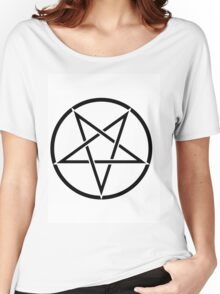 PENTAGRAM BLACK ON WHITE Women's Relaxed Fit T-Shirt