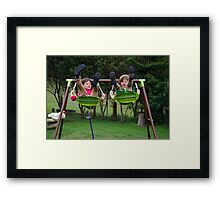 spot the chook, tail, striped socks and bruises Framed Print