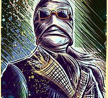 Invisible Man art print universal monster monsters cult classic classics horror sci fi science fiction bandage bandages joe badon halloween christmas by Joe Badon