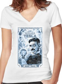 Inventor Nikola Tesla. Thomas Edison. Electricity Women's Fitted V-Neck T-Shirt