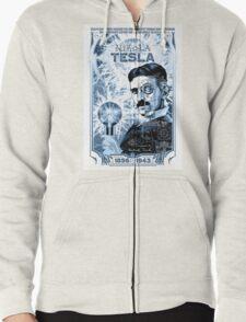 Inventor Nikola Tesla. Thomas Edison. Electricity Zipped Hoodie