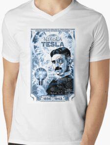 Inventor Nikola Tesla. Thomas Edison. Electricity Mens V-Neck T-Shirt
