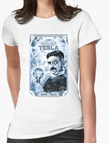 Inventor Nikola Tesla. Thomas Edison. Electricity Womens Fitted T-Shirt