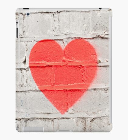 Red Heart on White Wall Graffiti iPad Case/Skin