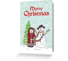 4th Doctor and Snowman Greeting Card