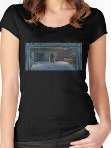 Fallout 4 Garage with Power Armor Women's Fitted Scoop T-Shirt