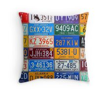 License Plates of the USA - Our Colorful American History Throw Pillow